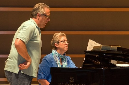 Susan Ashbaker rehearsing with Stephen Powell
