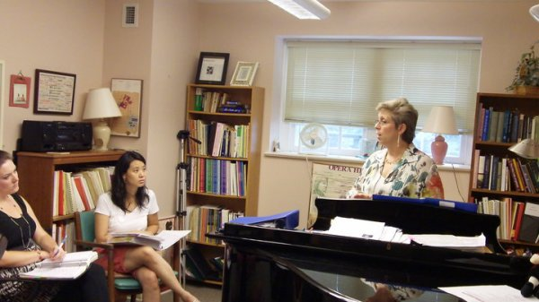 Susan Ashbaker at Westminster Choir College, working with a group of pianists.